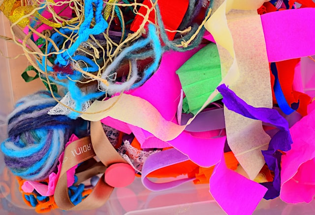 section of brightly coloured paper for crafting